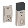 Schlage Sense Century Satin Nickel Single-Cylinder Motorized Touchscreen Electronic Entry Door Deadbolt with Keypad