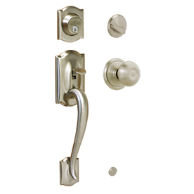 Shop Schlage Camelot Satin Nickel Single Lock Keyed Entry Door Handleset At L