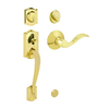 Schlage Camelot Bright Brass Single-Lock Keyed Entry Door Handleset
