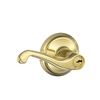 Schlage F Flair Traditional Bright Brass Universal-Handed Keyed Entry Door Lever