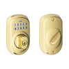 Schlage Plymouth Bright Brass Residential Single-Cylinder Electronic Deadbolt