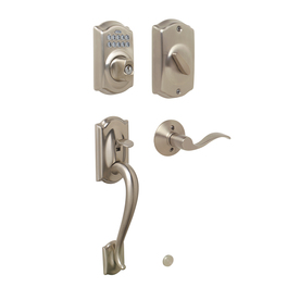 Shop Schlage Camelot Satin Nickel 1 Cylinder Electronic Entry Door Handleset