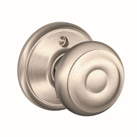 Shop Schlage Georgian Satin Nickel Residential Dummy Door Knob at ...