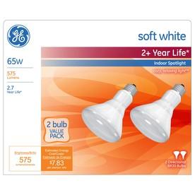 GE 2-Pack 65-Watt BR30 Medium Base (E-26) Soft White Dimmable Incandescent Spotlight Bulbs