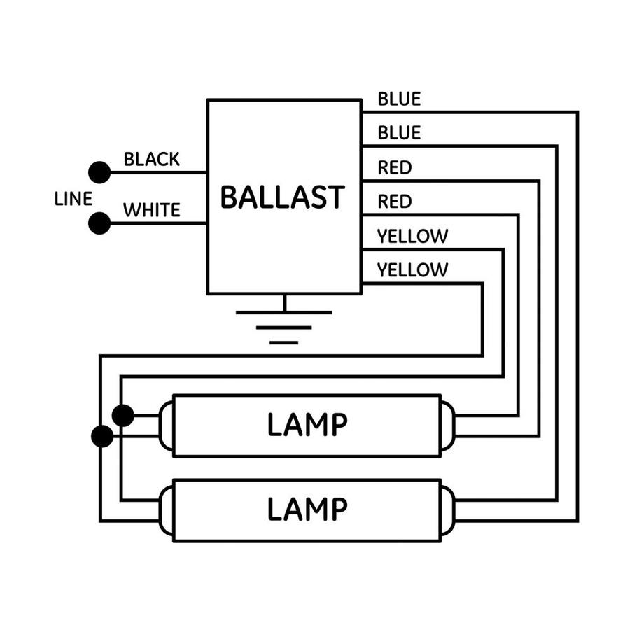 GE 2-Bulb Residential Electronic Fluorescent Light Ballast in the Ballasts  department at Lowes.com | Ge T8 Ballast Wiring Diagram |  | Lowe's