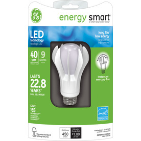 GE 9-Watt (40W Equivalent) 3000K A19 Medium Base (E-26) Bright White Indoor LED Bulb ENERGY STAR
