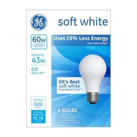 GE 4-Pack 43-Watt A19 Medium Base (E-26) Bright White Dimmable Halogen Light Bulbs