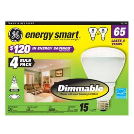 GE 4-Pack 15-Watt (65W Equivalent) 2,700K BR30 Medium Base (E-26) Soft White Dimmable CFL Bulbs ENERGY STAR