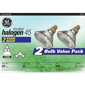 GE 2-Pack 45-Watt PAR38 Bright White Dimmable Outdoor Halogen Flood Light Bulbs