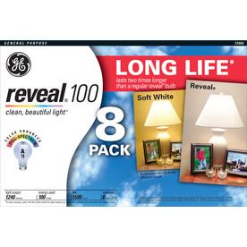 GE 8-Pack 100-Watt A19 Color-Enhancing Dimmable Incandescent Light Bulbs