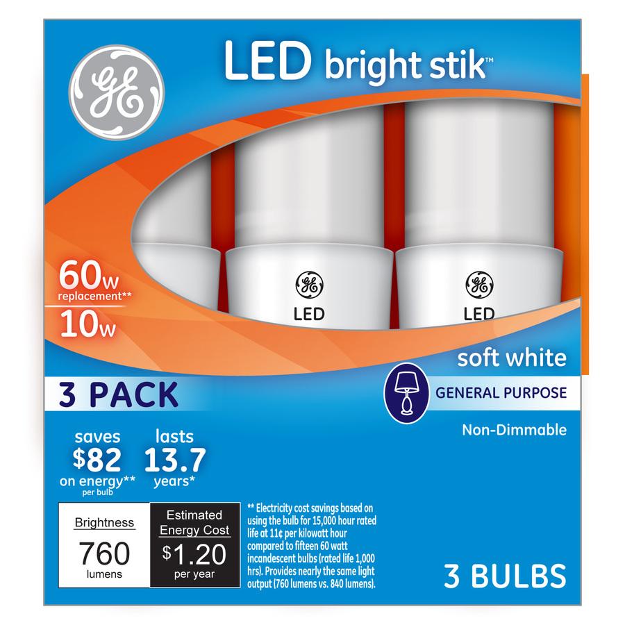GE Bright Stik 3-Pack 10-Watt (60W Equivalent) 2,800K A19 Medium Base (E-26) Soft White Indoor LED Bulbs