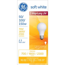 GE 150-Watt A21 Medium Base (E-26) Bright White Dimmable 3-Way Halogen Light Bulb