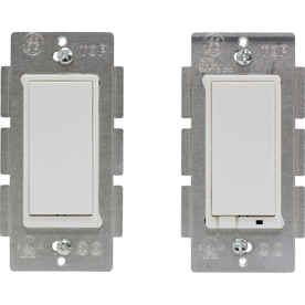 GE 2-Piece 10-Amp White Double Pole Decorator Light Switches