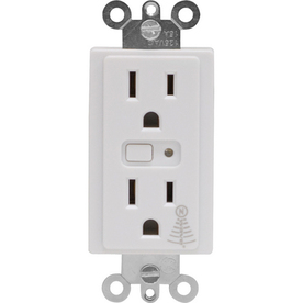 GE 15-Amp White Duplex Electrical Outlet with Iris Technology