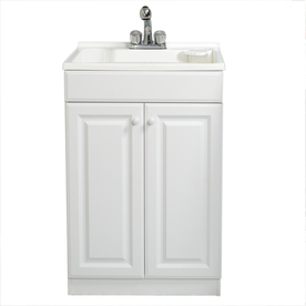 Style Selections 24.25-in x 24.5-in White Freestanding Polypropylene Utility Sink with Drain and Faucet