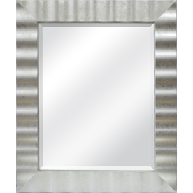 allen + roth 30.1-in x 36.2-in Silver Leaf Rectangular Framed Mirror
