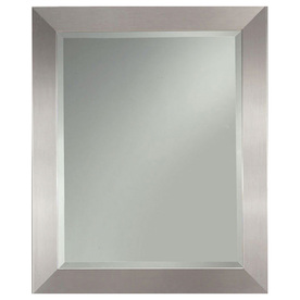 allen + roth 27.25-in x 33.25-in Silver Leaf Beveled Rectangle Framed French Wall Mirror
