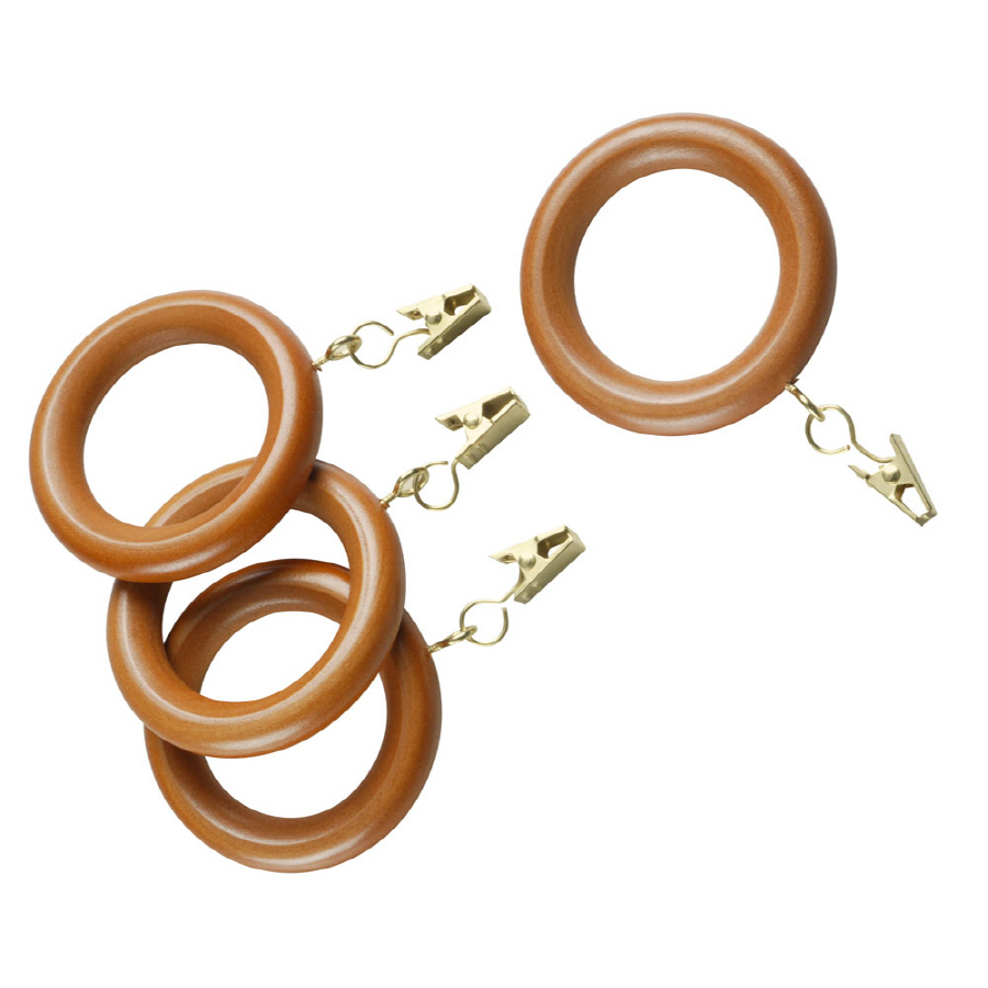 ... Style Selections 7-Pack Oak Wood Curtain Rod Clip Rings at Lowes.com