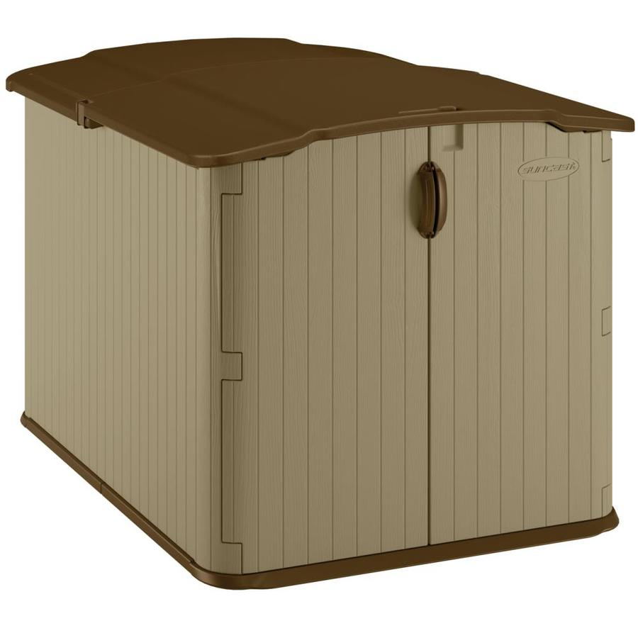 Shop suncast taupe resin outdoor storage shed common 57 for Resin garden shed