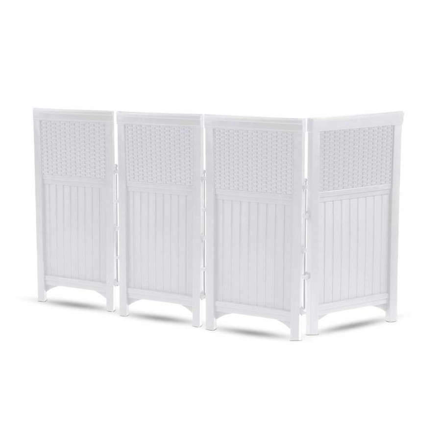 Shop suncast 44 in x 23 in white vinyl polyresin outdoor for Outdoor privacy screen white