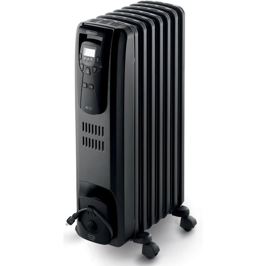 Electric Space Heater with Thermostat and Energy Saving Setting at