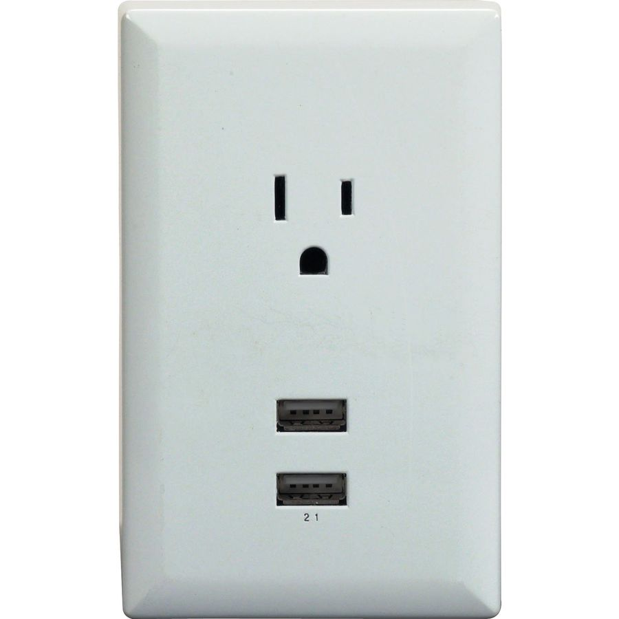 shop rca white usb wall plate charger with 2 usb ports and single standard outlet at. Black Bedroom Furniture Sets. Home Design Ideas