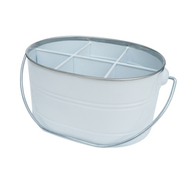 Style Selections 11.25-in x 7.25-in White Coating 6 Divided Powder-Coated Galvanized Iron Oval Serving Caddy