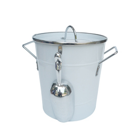 Style Selections 0.85-Gallon White Powder-Coated Galvanized Iron Ice Bucket Includes Scoop
