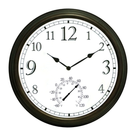 Shop garden treasures outdoor thermometer and clock at for Garden treasures pool clock