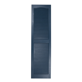 Shop Severe Weather 2 Pack Midnight Blue Louvered Vinyl Exterior Shutters Common 55 In X 15 In