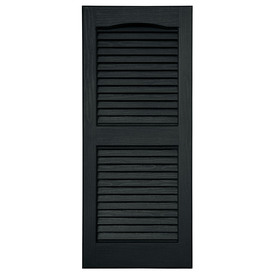 Severe Weather 2-Pack 15-in x 35-in Black Louvered Vinyl Exterior Shutters