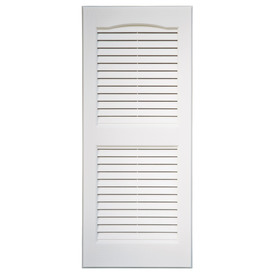 Severe Weather 2-Pack White Louvered Vinyl Exterior Shutters (Common: 39-in x 15-in; Actual: 38.5-in x 14.5-in)