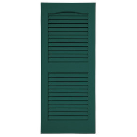 Severe Weather 2-Pack 15-in x 47-in Green Louvered Vinyl Exterior Shutters