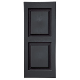 Severe Weather 2-Pack 15-in x 47-in Black Raised Panel Vinyl Exterior Shutters