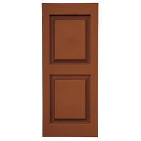 Severe Weather 2-Pack Earthen Red Raised Panel Vinyl Exterior Shutters (Common: 15-in x 47-in; Actual: 14.5-in x 46.5-in)