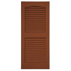 Severe Weather 2-Pack Earthen Red Louvered Vinyl Exterior Shutters (Common: 15-in x 55-in; Actual: 14.5-in x 54.5-in)