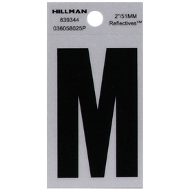 The Hillman Group 2-in Reflective Black House Letter M