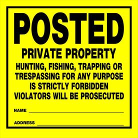 The Hillman Group 11-in x 11-in Private Property Sign