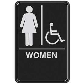 The Hillman Group 9-in x 6-in Women Handicap Accessible Restroom Sign