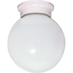 8-in W White Ceiling Flush Mount