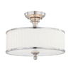 15-in Brushed Nickel Frosted Glass Semi-Flush Mount Light