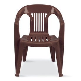 US Leisure Cappuccino Slat Seat Resin Stackable Patio Dining Chair