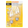 SYLVANIA 2-Pack 25-Watt Medium Base (E-26) Soft White Dimmable Decorative Incandescent Light Bulbs