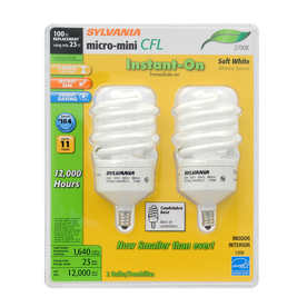 SYLVANIA 2-Pack 23-Watt (100W Equivalent) 2,700K Spiral Candelabra Base (E-12) Soft White CFL Bulb ENERGY STAR