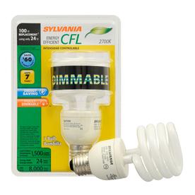 SYLVANIA 24-Watt (100W Equivalent) 2,700K Spiral Medium Base (E-26) Soft White Dimmable CFL Bulb