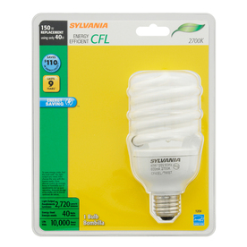 SYLVANIA 40-Watt (150W Equivalent) 2,700K Spiral Medium Base (E-26) Soft White CFL Bulb ENERGY STAR
