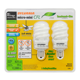 SYLVANIA 2-Pack 13-Watt (60W Equivalent) 2,700K Spiral Intermediate Base (E-17) Soft White CFL Bulb