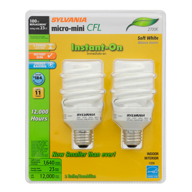 SYLVANIA 2-Pack 23-Watt (100W) Spiral Medium Base Soft White (2700K) CFL Bulbs ENERGY STAR