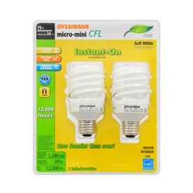 SYLVANIA 2-Pack 20-Watt (75W Equivalent) 2,700K Spiral Medium Base (E-26) Soft White CFL Bulb ENERGY STAR