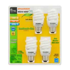 SYLVANIA 4-Pack 13-Watt (60W) Spiral Medium Base Soft White CFL Bulbs ENERGY STAR